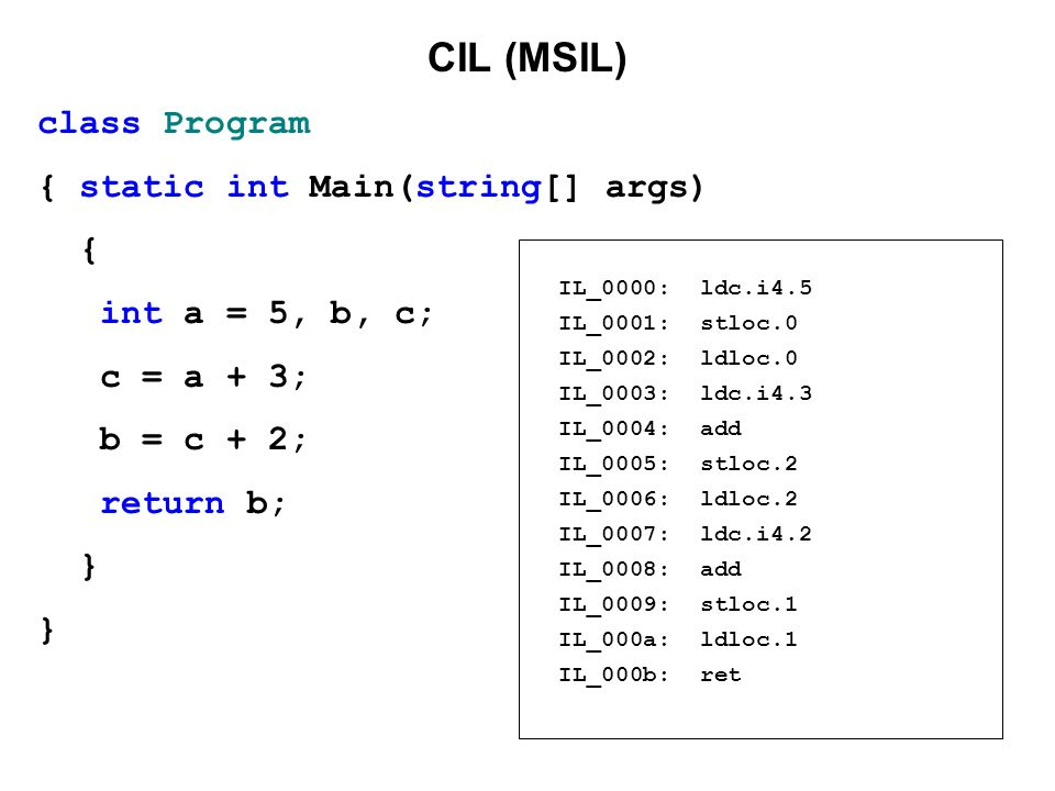 CIL (MSIL) class Program { static int Main(string[] args) {